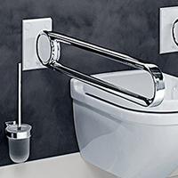 Accessoires PMR Cavere® Chrome pour salles de bains élégantes sans entraves